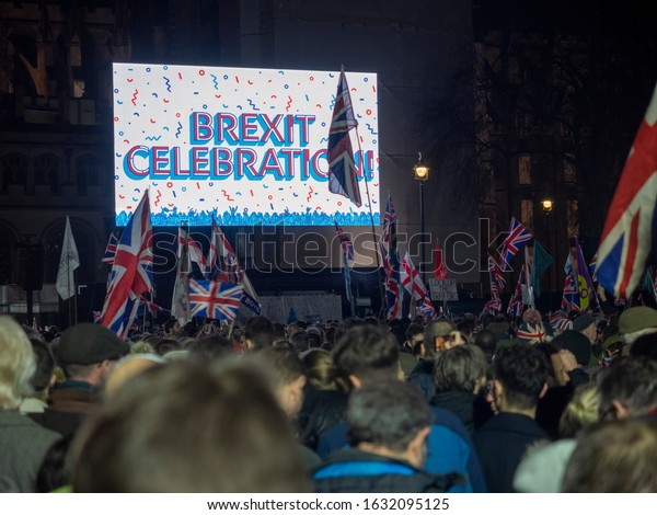 London. UK. January the 31st 2020. People celebrating the Brexit day in Parliament Square,