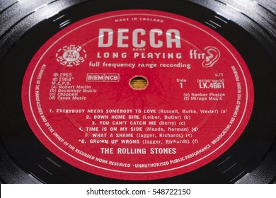 LONDON, UK - JANUARY 4TH 2017: A close-up of the The Rolling Stones No. 2 vinyl album, taken on 4th January 2017.  The album was released in 1965 on the Decca record label.