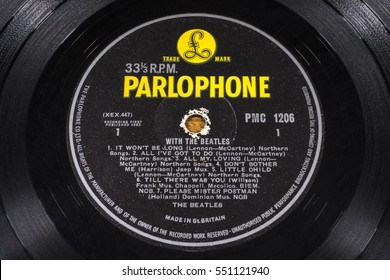 LONDON, UK - JANUARY 4TH 2017: A vintage vinyl record of the album With The Beatles by English rock band The Beatles - their second studio album, pictured on 4th January 2017.