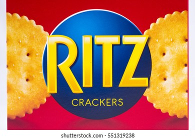 LONDON, UK - JANUARY 4TH 2017: A close-up shot of the Ritz Crackers brand logo, on 4th January 2017.
