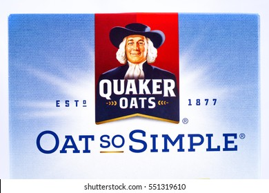 LONDON, UK - JANUARY 4TH 2017: A close-up shot of the Quaker Oats company logo, with its strapline Oat So Simple, on 4th January 2017.  Quaker have been owned by the PepsiCo since 2001.