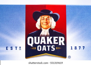 LONDON, UK - JANUARY 4TH 2017: A close-up shot of the Quaker Oats company logo, on 4th January 2017.  Quaker have been owned by the PepsiCo since 2001.