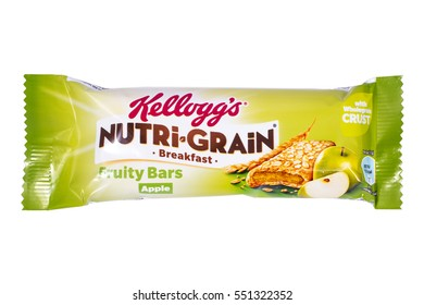 LONDON, UK - JANUARY 4TH 2017: A studio shot of a Nutri-Gran Breakfast Bar over a plain white background, on 4th January 2017.  The Nutri Grain bars are produced by the Kellogg company.