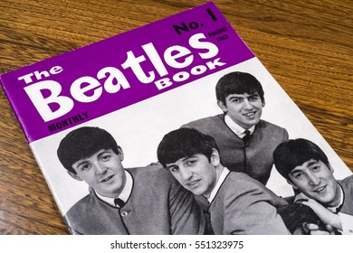LONDON, UK - JANUARY 4TH 2017: Close-up shot of The first issue of The Beatles Monthly Book, issued in August 1963, placed on a tabletop, pictured on 4th January 2017.