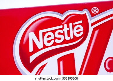 LONDON, UK - JANUARY 4TH 2017: A close-up of the Nestle logo on one of their confectionery products, pictured over a plain white background on 4th January 2017.