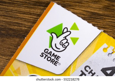 LONDON, UK - JANUARY 4TH 2017: The Game Store symbol on a scratchcard, on 4th January 2017.  Game Store scratchcards are part of the state-franchised National Lottery, operated by the Camelot Group.