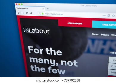 LONDON, UK - JANUARY 4TH 2018: The homepage of the official website for the Labour Party - the centre-left political party in the UK, on 4th January 2018.