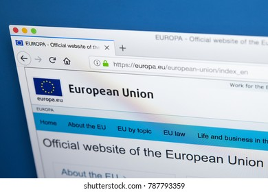 LONDON, UK - JANUARY 4TH 2018: The homepage of the official website for the European Union, on 4th January 2018.