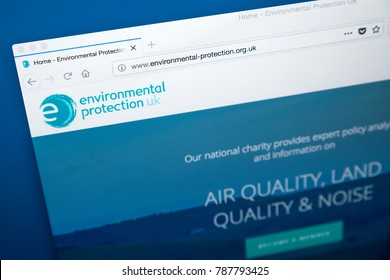 LONDON, UK - JANUARY 4TH 2018: The homepage of the official website for Environmental Protection UK - a Non Governmental Organization (NGO) working to improve the quality of the local environment.