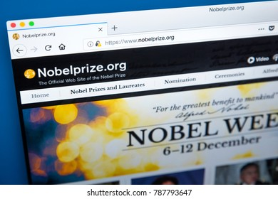 LONDON, UK - JANUARY 4TH 2018: The homepage of the official website for the Nobel Prize, on 4th January 2018.