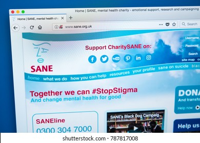LONDON, UK - JANUARY 4TH 2018: The homepage of the official website for SANE - the mental health charity, on 4th January 2018.