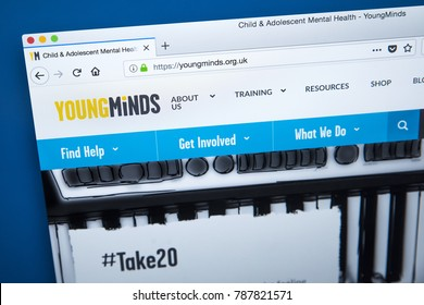 LONDON, UK - JANUARY 4TH 2018: The homepage of the official website for Young Minds - the leading charity in the UK committing to improve the mental health of young people, on 4th January 2018.