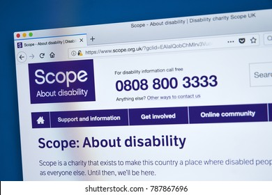 LONDON, UK - JANUARY 4TH 2018: The homepage of the official website for Scope - the leading disability charity in England and Wales, on 4th January 2018.