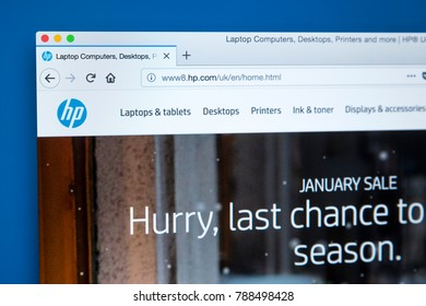 LONDON, UK - JANUARY 4TH 2018: The homepage of the official website for Hewlett-Packard - the American information technology company, on 4th January 2018.
