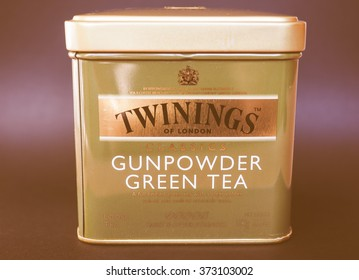 LONDON, UK - JANUARY 6, 2015: Twinings Gunpowder Green tea vintage