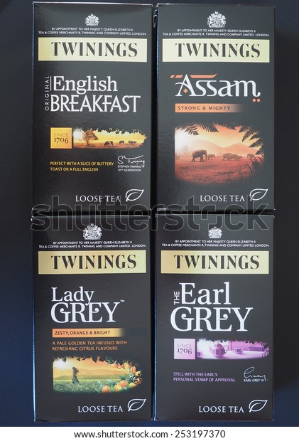 LONDON, UK - JANUARY 6, 2015: Twinings teas including English Breakfast, Assam, Lady Grey and Earl Grey loose tea