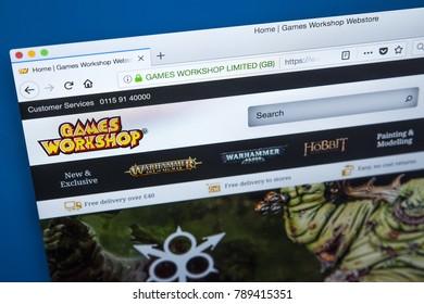 LONDON, UK - JANUARY 8TH 2018: The homepage of the official website for Games Workshop - the British miniature wargaming manufacturing company, on 8th January 2018.