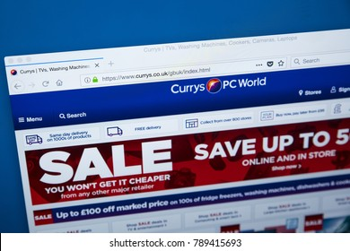 LONDON, UK - JANUARY 8TH 2018: The homepage of the official website for Currys PC World, on 8th January 2018.