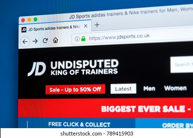 LONDON, UK - JANUARY 8TH 2018: The homepage of the official website for JD Sports - the sports fashion retailer based in the UK, on 8th January 2018.