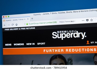 LONDON, UK - JANUARY 8TH 2018: The homepage of the official website for Superdry - owned by SuperGroup plc - the British international branded clothing company, on 8th January 2018.
