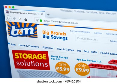 LONDON, UK - JANUARY 8TH 2018: The homepage of the official website for B&M Bargains - the UK retailer, on 8th January 2018.