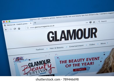 LONDON, UK - JANUARY 8TH 2018: The homepage of the official website for Glamour - the womens magazine published by Conde Nast Publications, on 8th January 2018.
