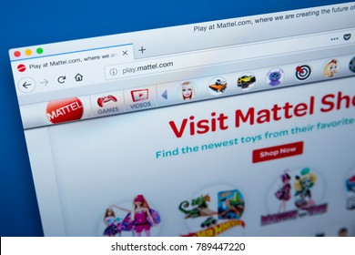 LONDON, UK - JANUARY 8TH 2018: The homepage of the official website for Mattel - the American toy manufacturing company, on 8th January 2018.
