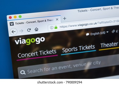 LONDON, UK - JANUARY 8TH 2018: The homepage of the official website for Viagogo - the online ticket marketplace for ticket resale, on 8th January 2018.
