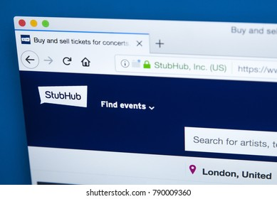 LONDON, UK - JANUARY 8TH 2018: The homepage of the official website for StubHub - the online ticket exchange company owned by eBay, on 8th January 2018.