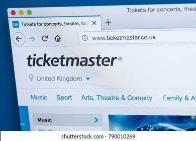 LONDON, UK - JANUARY 8TH 2018: The homepage of the official website for Ticketmaster - the American ticket sales and distribution company, on 8th January 2018.
