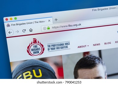 LONDON, UK - JANUARY 8TH 2018: The homepage of the official website for the Fire Brigades Union - a trade union in the UK for firefighters, on 8th January 2018.
