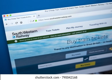 LONDON, UK - JANUARY 8TH 2018: The homepage of the official website for South Western Railway - the English train operating company, on 8th January 2018.