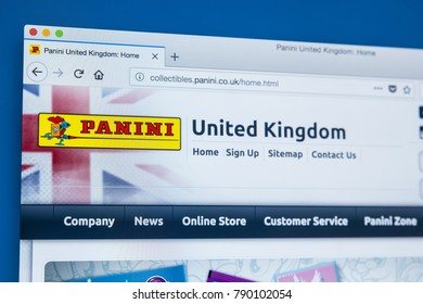 LONDON, UK - JANUARY 8TH 2018: The homepage of the official website for Panini - producer of book, comics, magazines, stickers and trading cards, on 8th January 2018.
