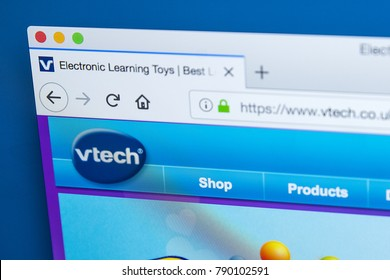 LONDON, UK - JANUARY 8TH 2018: The homepage of the official website for V-Tech - the Chinese supplier of electronic toy learning products, on 8th January 2018.