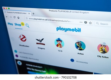 LONDON, UK - JANUARY 8TH 2018: The homepage of the official website for Playmobil - the line of toys produced by the Brandstatter Group, on 8th January 2018.