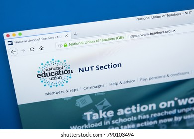 LONDON, UK - JANUARY 8TH 2018: The homepage of the official website for the National Union of Teachers - the trade union for teachers, on 8th January 2018.