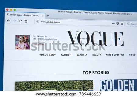 d90048b099 LONDON, UK - JANUARY 8TH 2018: The homepage of the official website for  Vogue UK - the fashion magazine, on 8th January 2018. - Image