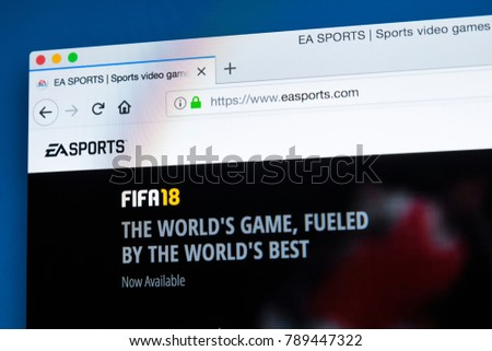 1beb2c59c0 LONDON, UK - JANUARY 8TH 2018: The homepage of the official website for EA