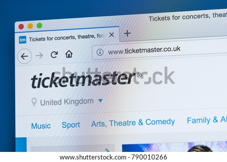 c9d27cf587 LONDON, UK - JANUARY 8TH 2018: The homepage of the official website for  Ticketmaster