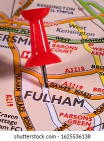 London, UK - January 8th 2020: The location of Fulham pinned on a map of the UK.  Fulham is an area within the London Borough of Hammersmith and Fulham in South West London.