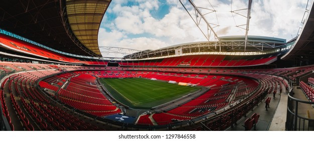 London, UK January 9, 2019: Panoramic view from the second deck of Wembley Stadium