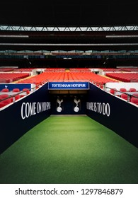 London, UK January 9, 2019: An empty tunnel before Tottenham takes on Manchester United at Wembley