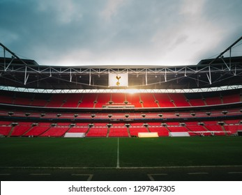 London, UK January 9, 2019: The sun peaks through the stands days before Tottenham's match with Manchester United at Wembley