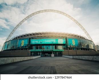 London, UK January 9, 2019: Outside of Wembley Stadium on a sunny day