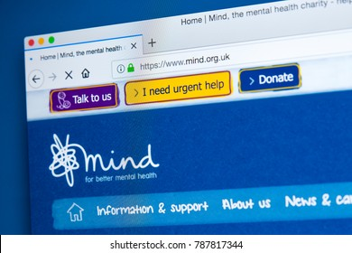 LONDON, UK - JANURAY 4TH 2018: The homepage of the official website for Mind - the mental health charity, on 4th January 2018.