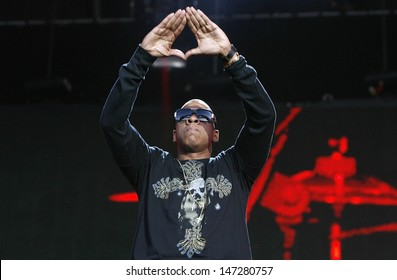 London. UK. Jay Z performs live on stage at the 02 Wireless at Hyde Park in London. 3rd July 2008.