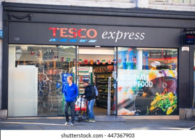 London, UK JULY 03, 2016: The exterior of an Tesco's express supermarket on JULY 03,  in London, England, UK. Tesco's is one of the UK's leading supermarkets.