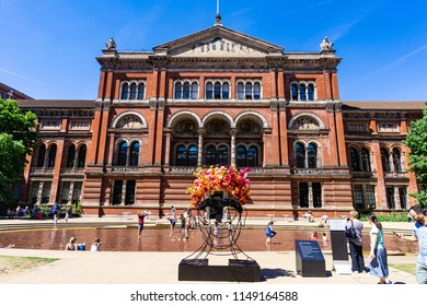 LONDON, UK - JULY 03 2018: The Victoria and Albert Museum viewed from the inner Courtyard in London, on 03 July 2018.