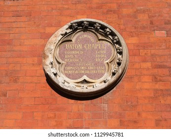 London, UK - July 07 2018: Close-up view of the plaque on the wall of the Union Chapel in Islington London.
