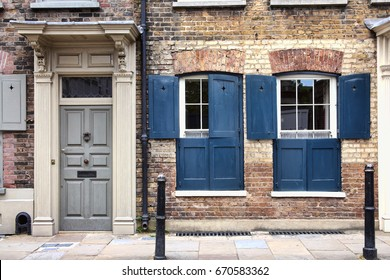 London, UK, July 1, 2012 : Georgian terraced town houses in Spitafields  which where once the homes of wealthy Huguenot silk merchants